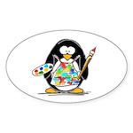 Artist penguin Oval Sticker
