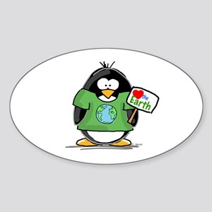 Love the Earth Penguin Oval Sticker
