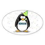 Senior Party Penguin Oval Sticker