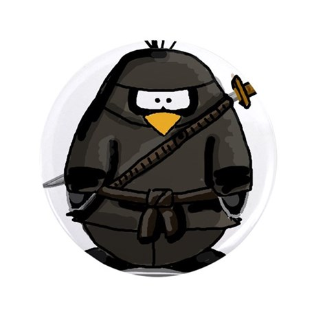 "Martial Arts ninja penguin 3.5"" Button"