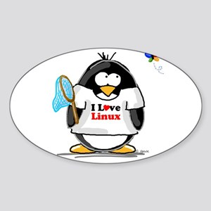 linux Penguin Oval Sticker
