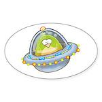 Space Alien Penguin Oval Sticker