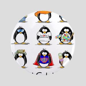 """9 Penguins 3.5"""" Button"""