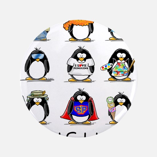 "9 Penguins 3.5"" Button"