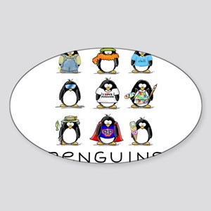 9 Penguins Oval Sticker