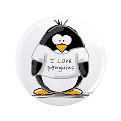 "I Love Penguins penguin 3.5"" Button"