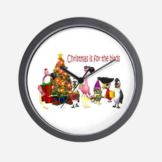 CHRISTMAS IS FOR THE BIRDS Wall Clock