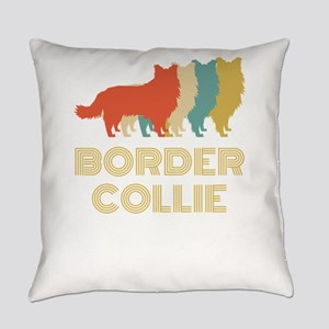 Border Collie Dog Breed Vintage Lo Everyday Pillow