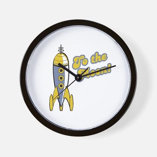 To the Moon Retro Rocket Wall Clock