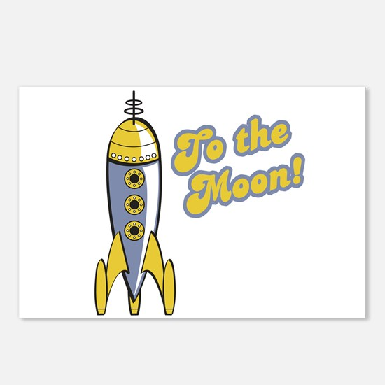 To the Moon Retro Rocket Postcards (Package of 8)