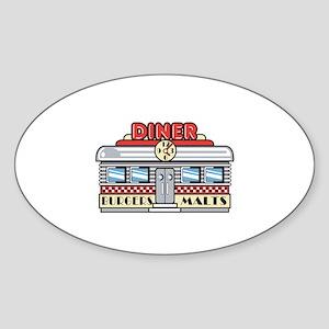 Retro Fast Food Diner Design Oval Sticker