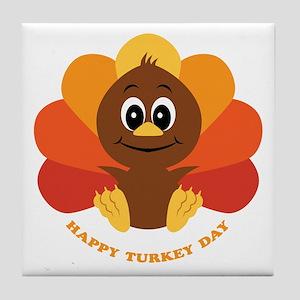 Happy Turkey Day Tile Coaster