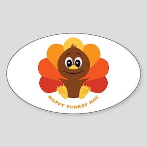 Happy Turkey Day Oval Sticker