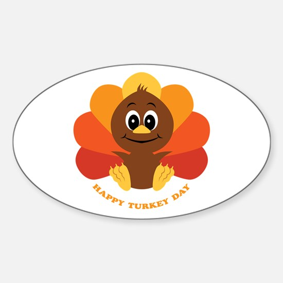 Happy Turkey Day Oval Decal