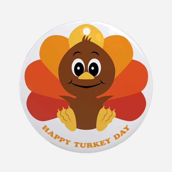 Happy Turkey Day Ornament (Round)