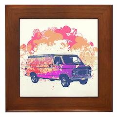 Retro Hippie Van Grunge Style Framed Tile