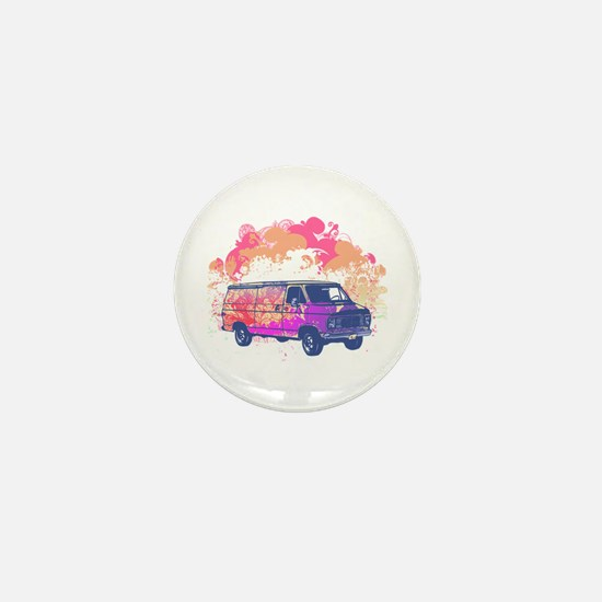 Retro Hippie Van Grunge Style Mini Button