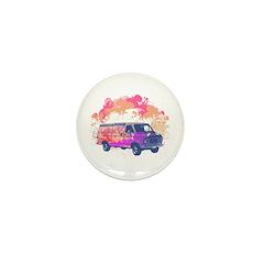 Retro Hippie Van Grunge Style Mini Button (100 pac
