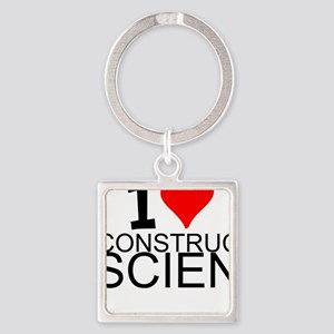 I Love Construction Science Keychains