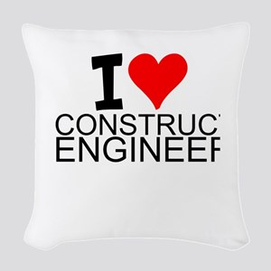 I Love Construction Engineering Woven Throw Pillow