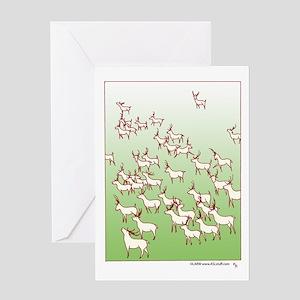 Reindeer Herd Green Greeting Card