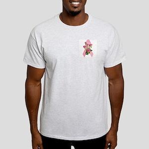 Breast Cancer Ribbon & Pink Roses Ash Grey T-Shirt