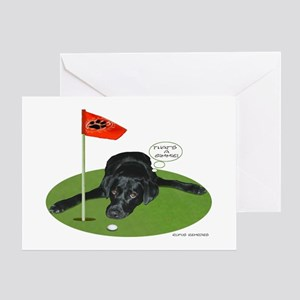 Black Lab Golfer Greeting Cards