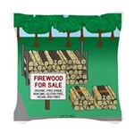 Firewood for Sale Woven Throw Pillow