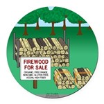 Firewood for Sale Round Car Magnet