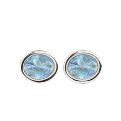 Blue Iced Feather Oval Cufflinks