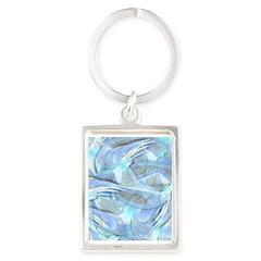 Blue Iced Feather Portrait Keychain