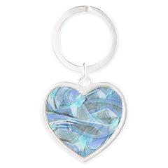 Blue Iced Feather Heart Keychain