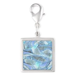 Blue Iced Feather Silver Square Charm