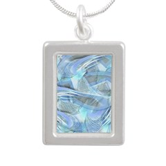 Blue Iced Feather Silver Portrait Necklace