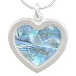 Blue Iced Feather Silver Heart Necklace