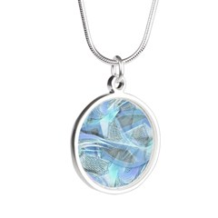 Blue Iced Feather Silver Round Necklace