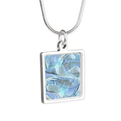 Blue Iced Feather Silver Square Necklace