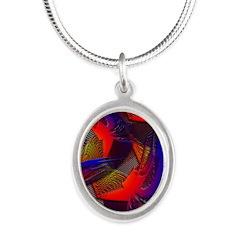 Brazen Bold Mesh Silver Oval Necklace