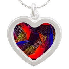Brazen Bold Mesh Silver Heart Necklace