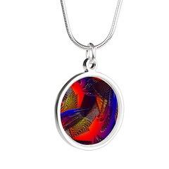 Brazen Bold Mesh Silver Round Necklace