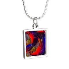 Brazen Bold Mesh Silver Square Necklace