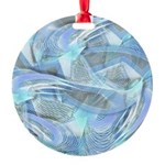 Blue Iced Feather Round Ornament