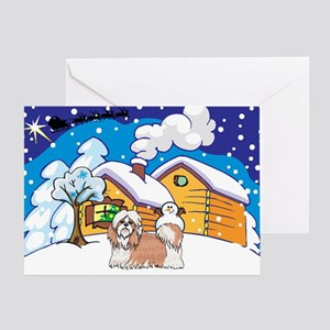 Log Cabin Shih Tzu Greeting Card