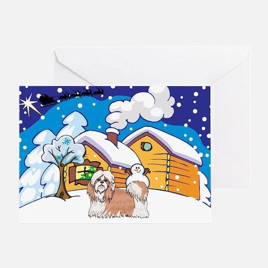 Log Cabin Shih Tzu Greeting Card