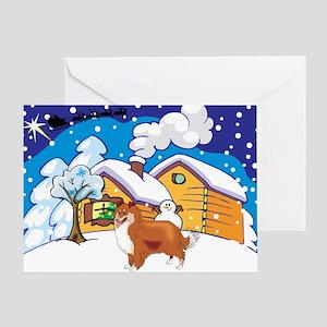 Log Cabin Sheltie Greeting Card