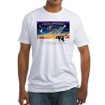 XmasSunrise/2 Cavaliers (t) Fitted T-Shirt