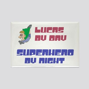Lucas - Super Hero by Night Rectangle Magnet