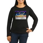 XmasSunrise/2 Cotons Women's Long Sleeve Dark T-Sh