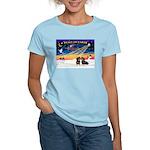 XmasSunrise/2 Dachshunds Women's Light T-Shirt