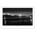 Black And White Posters - Golden Gate Bridge Night